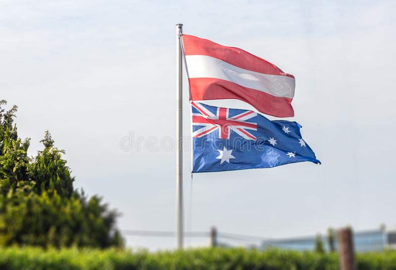 Flags of Austria and Australia stock images