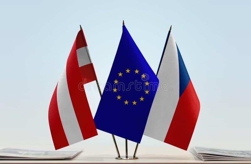 Flags of Austria European Union and Czech Republic. Desktop flags of Austria European Union and Czech Republic stock photography