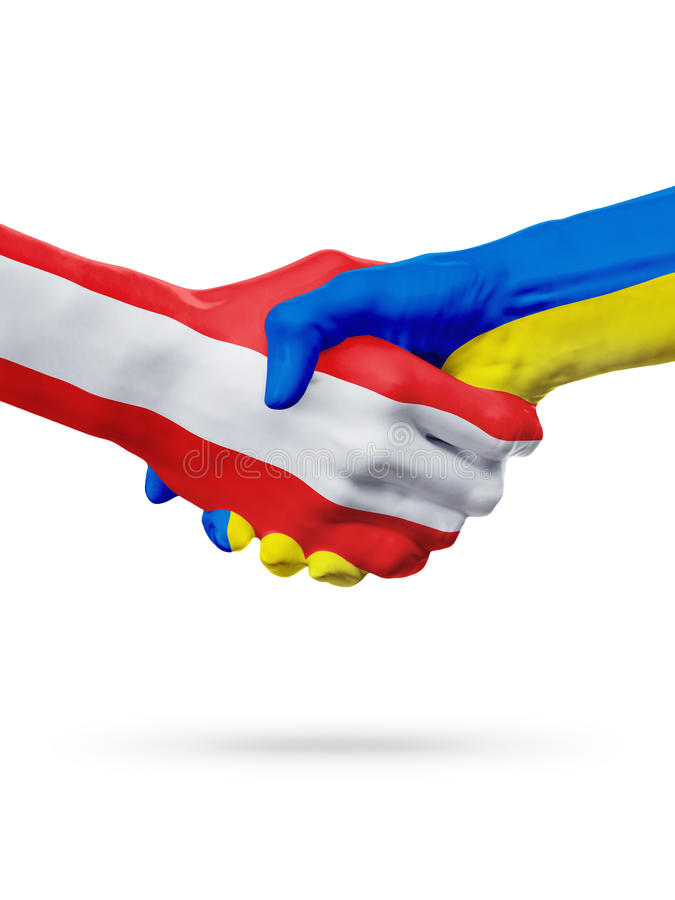 Flags Austria, Ukraine countries, partnership friendship handshake concept. royalty free stock image