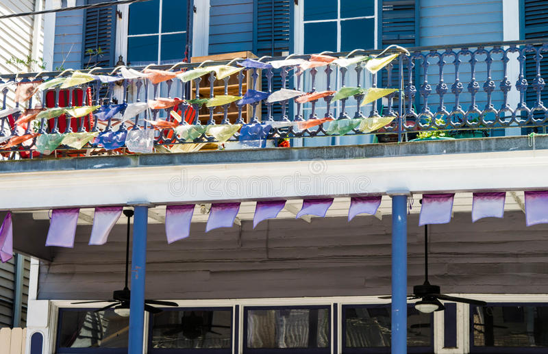 Flags and banners on Magazine Street in New Orleans, Louisiana royalty free stock image