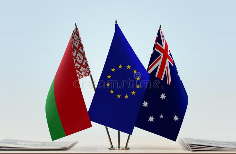 Flags of Belarus European Union and Australia stock images