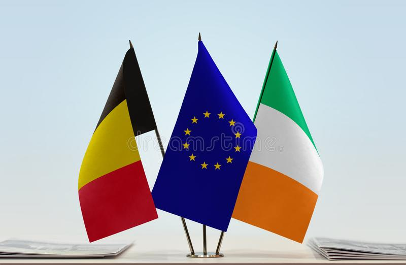 Flags of Belgium European Union and Ireland. Desktop flags of Belgium European Union and Ireland stock image
