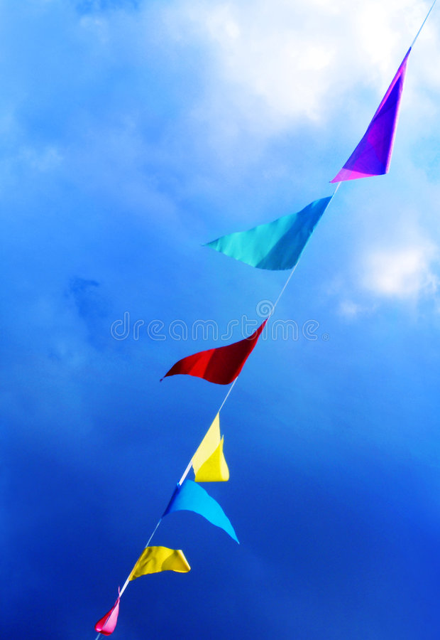 Flags Blowing In The Wind Stock Photos