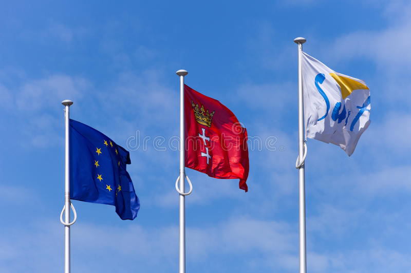 Download Flags on the blue sky editorial image. Image of national - 25090490
