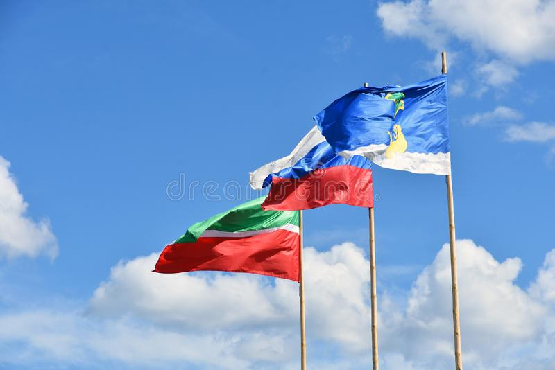 Flags at blue sky background. Frags of Russian Federation,Tatarstan republic stock photos