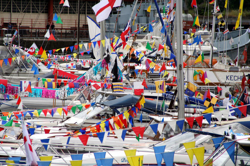 Flags and Boats royalty free stock image
