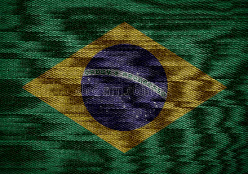Flags brazil. Fabric flags brazil On fabric texture royalty free stock photography