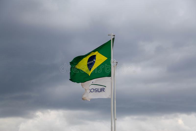 Flags of Brazil and Mercosur. Brasilia, Brazil, September 4, 2019: Flags of Brazil and Mercosur, Common Market between Argentina, Uruguay, Paraguay, Brazil and stock photos