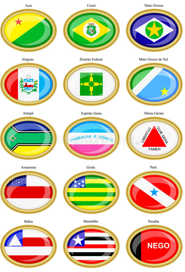 Flags of the Brazilian states royalty free illustration