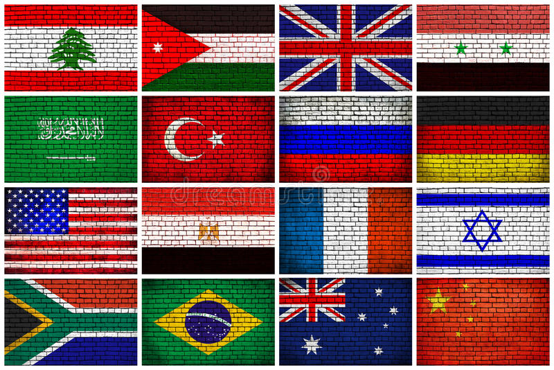 Flags on a brick wall stock image