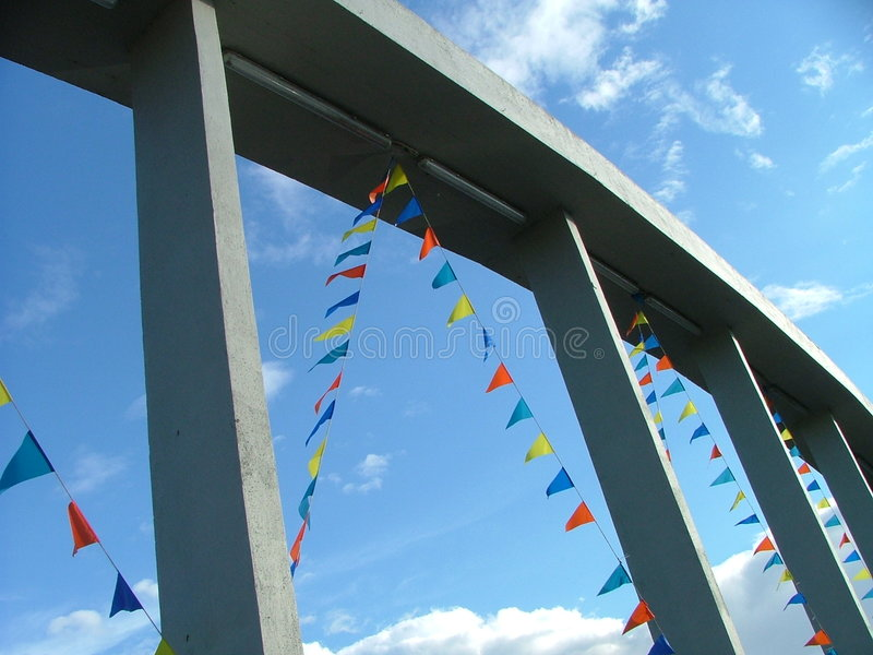 Download Flags on the bridge frame stock photo. Image of blue, festival - 164910