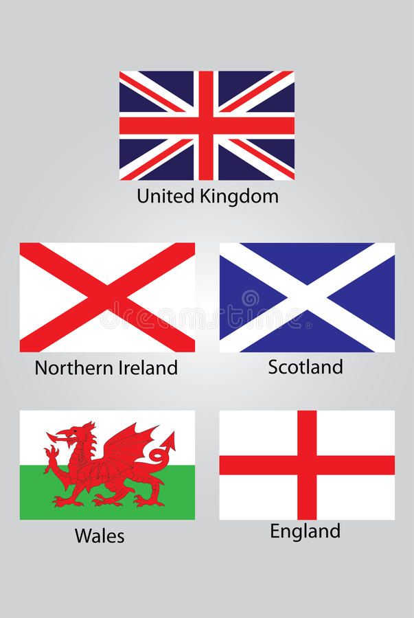 The flags of British Northern Ireland Scotland Wales and England stock photos