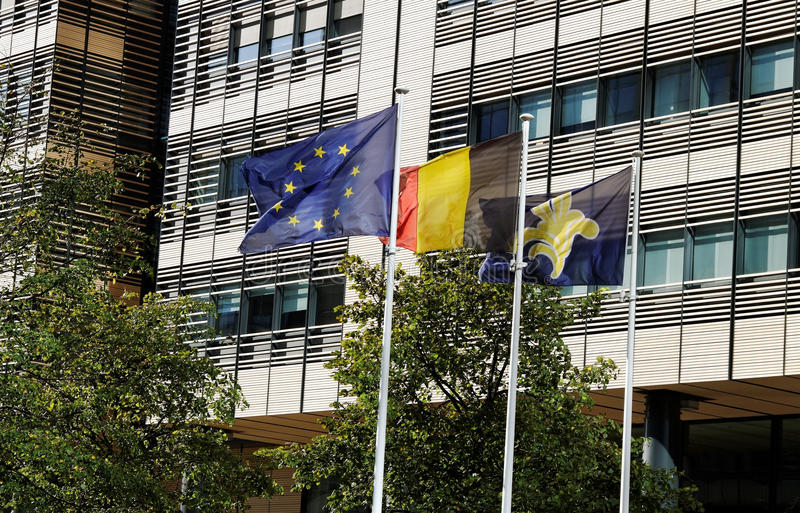 Download Flags in the Brussels. stock photo. Image of architecture - 22318664