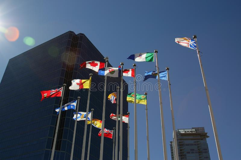 Flags with building royalty free stock photography