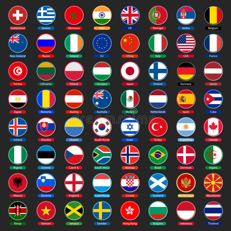 Flags buttons stock illustration