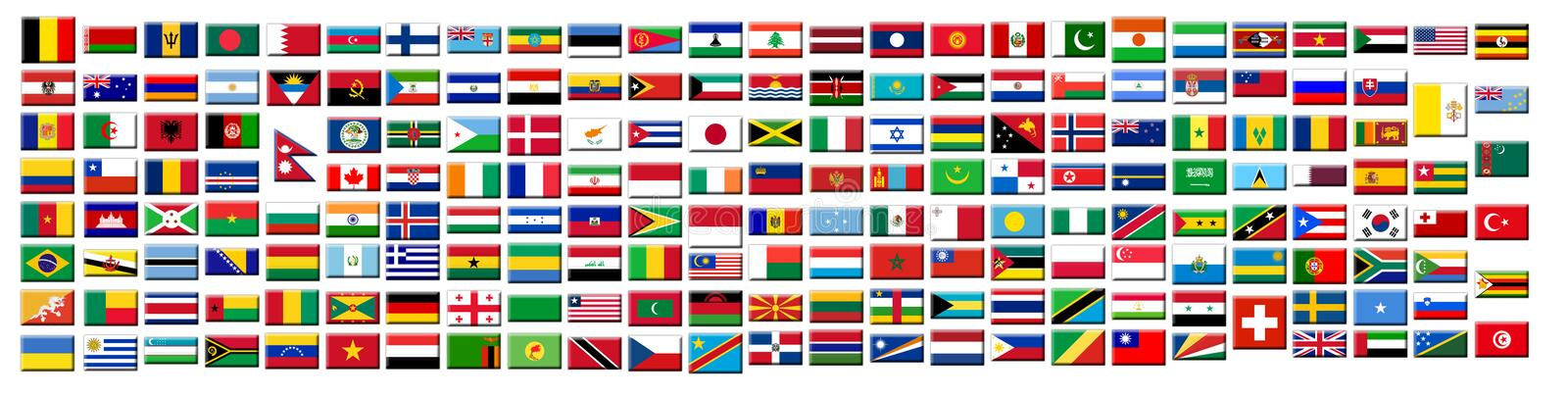 Flags buttons. 195 flags of the world royalty free illustration
