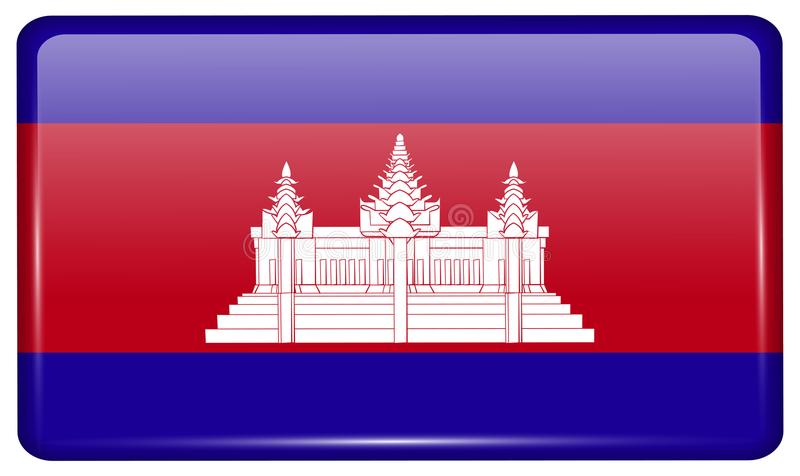 Flags Cambodia in the form of a magnet on refrigerator with reflections light. vector illustration