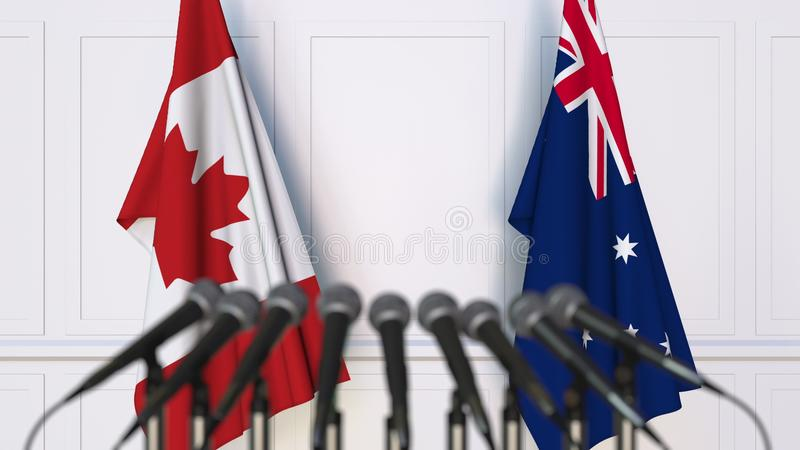 Flags of Canada and Australia at international meeting or conference. 3D rendering. Flags of Canada and Australia at international meeting or conference. 3D stock illustration