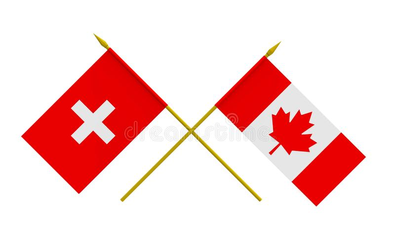 Flags, Canada and Switzerland vector illustration