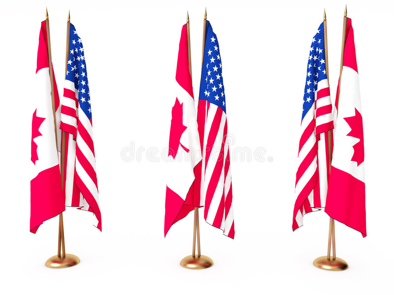 Download Flags Of Canada And The United State Stock Illustration - Illustration: 7193946