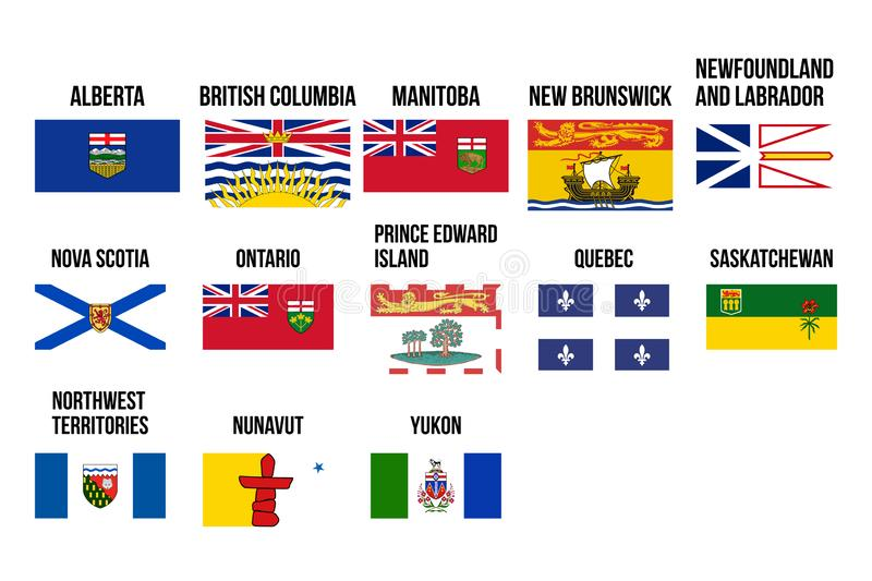 Flags of Canadians provinces and territories. Vector illustration. Vector flags of provinces and territories of Canada. Vector illustration. Ottawa, Toronto royalty free illustration