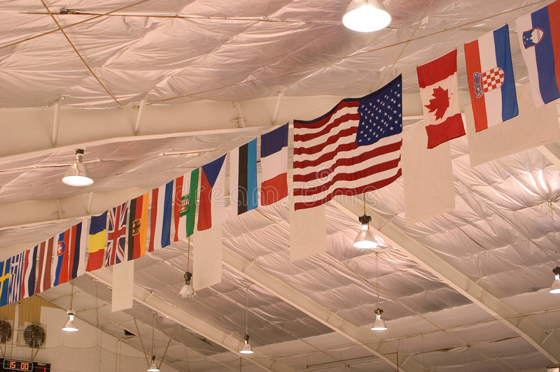 Download Flags on the Ceiling stock image. Image of flags, lights - 7921