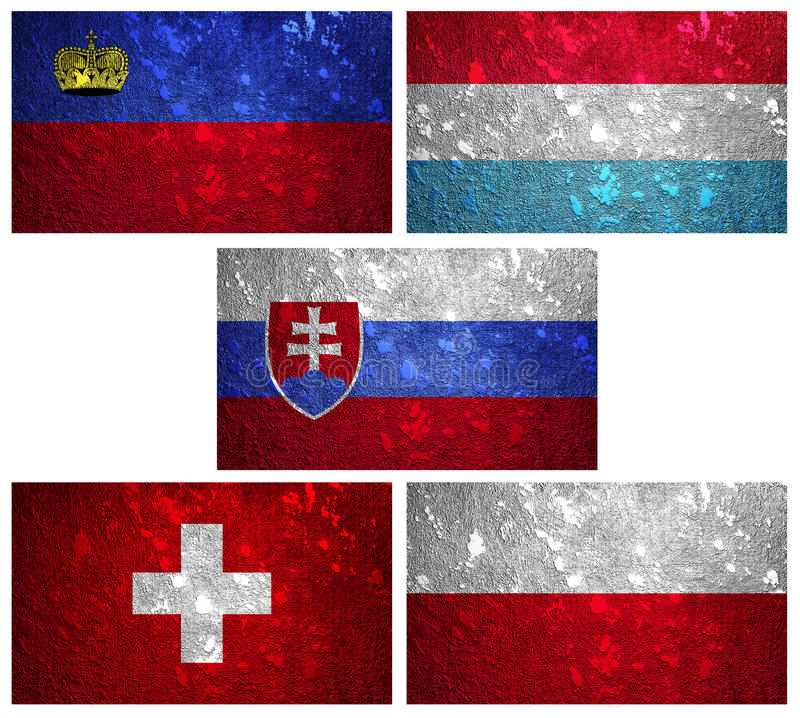 Flags of Central Europe 2 royalty free stock photo