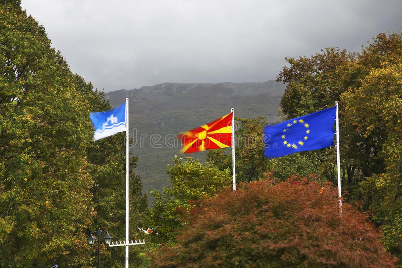 Flags on Central square in Ohrid. Macedonia.  stock photography