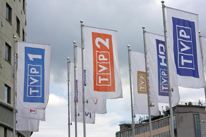 Flags of channels polish television stock photo