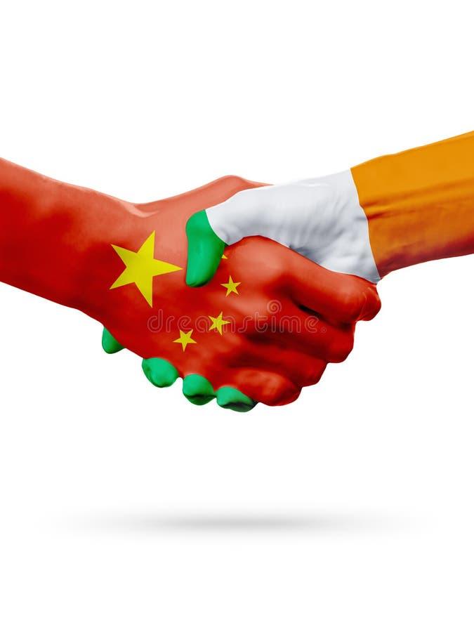 Flags China, Ireland countries, partnership friendship handshake concept. 3D illustration vector illustration