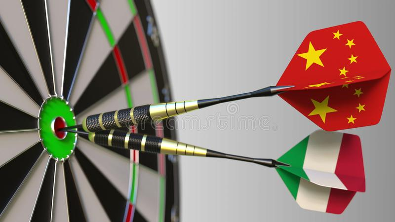 Flags of China and Italy on darts hitting bullseye of the target. International cooperation or competition conceptual 3D. Flags of China and Italy on darts royalty free stock image