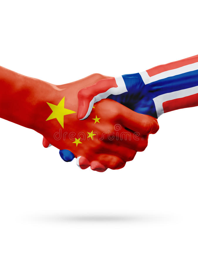 Flags China, Norway countries, partnership friendship handshake concept. royalty free stock image