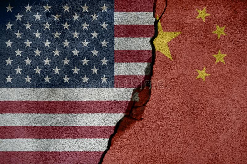 Flags of China and United States of America that come together showing a concept that means trade, political or other relationship. S between the two nations stock illustration