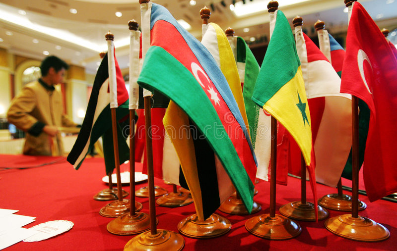 Flags of countries. On display stock photo