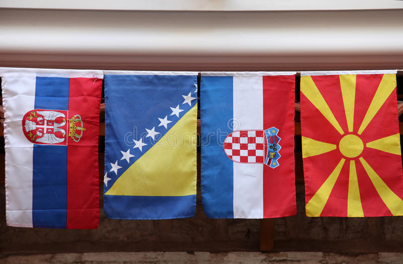 Flags. Of countries of the former Yugoslavia stock photos
