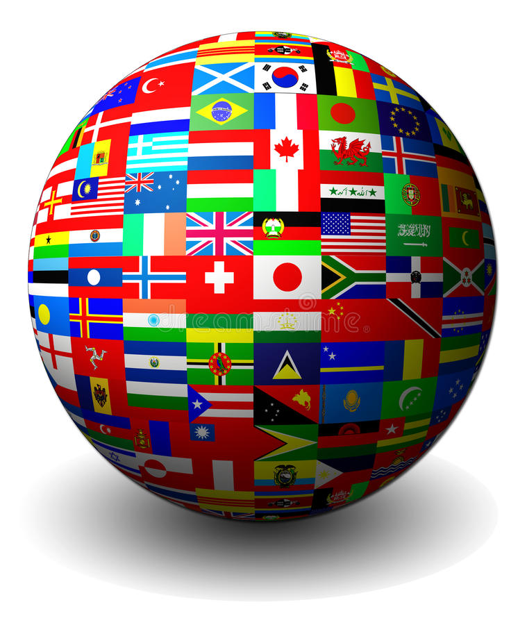 Flags of countries set in a sphere stock illustration
