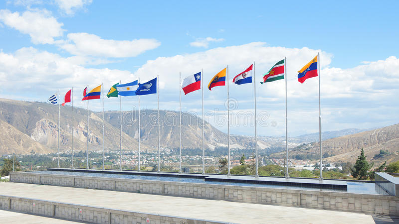 Flags of the countries of UNASUR. It is an intergovernmental regional organization comprising 12 South American countries royalty free stock photo