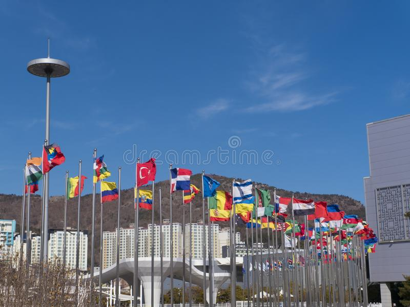 Flags of the countries of the world on flagpoles. Expo, Yeosu city stock image