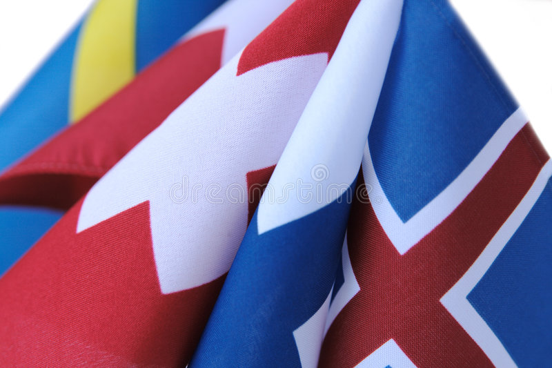 Flags with crosses. Curving flags of Iceland, Finland, Switzerland, Denmark and Sweden royalty free stock photo