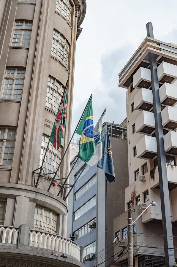Flags of Curitiba, Brazil, Parana and Uninter royalty free stock photo