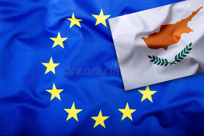 Flags of the Cyprus and the European Union. Cyprus Flag and EU Flag. Flag inside stars. World flag money concept stock image