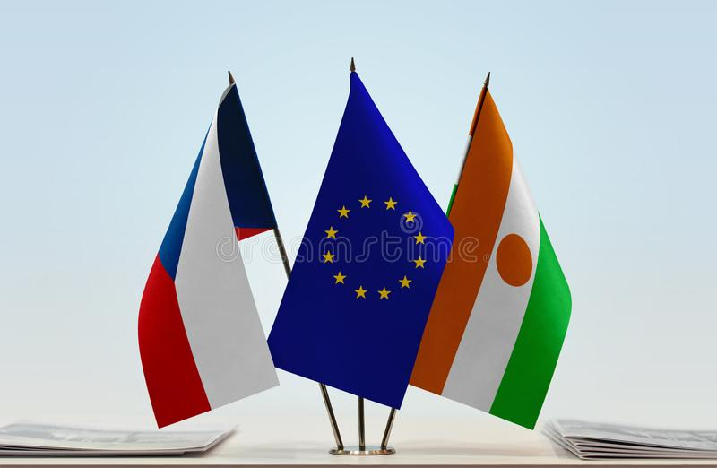 Flags of Czech Republic EU and Niger. Desktop flags of Czech Republic and Niger with European Union flag in the middle stock image