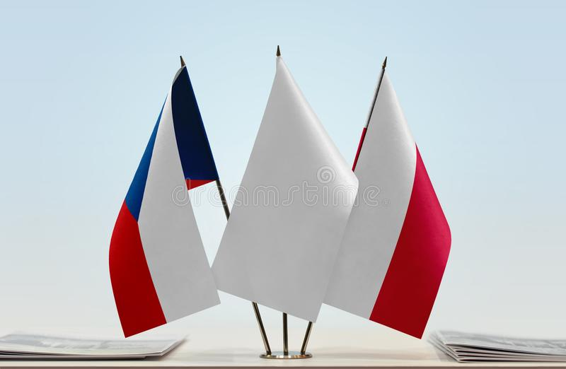 Flags of Czech Republic and Poland royalty free stock photo