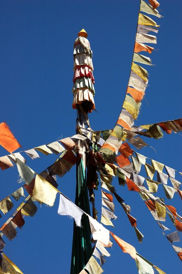flags den tibetana bönen arkivfoto