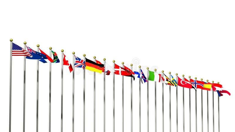 flags den vita världen stock illustrationer