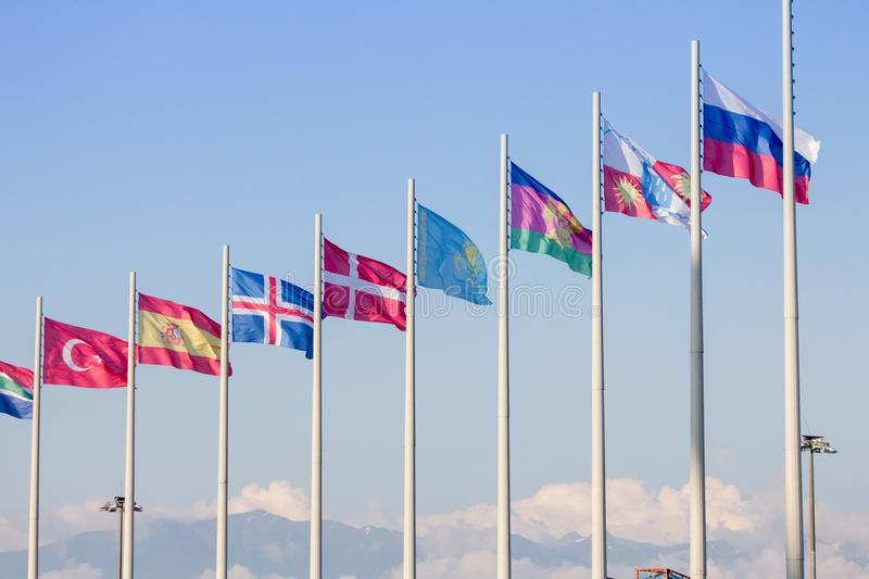 Flags of different countries in the Olympic Park. In Sochi royalty free stock images
