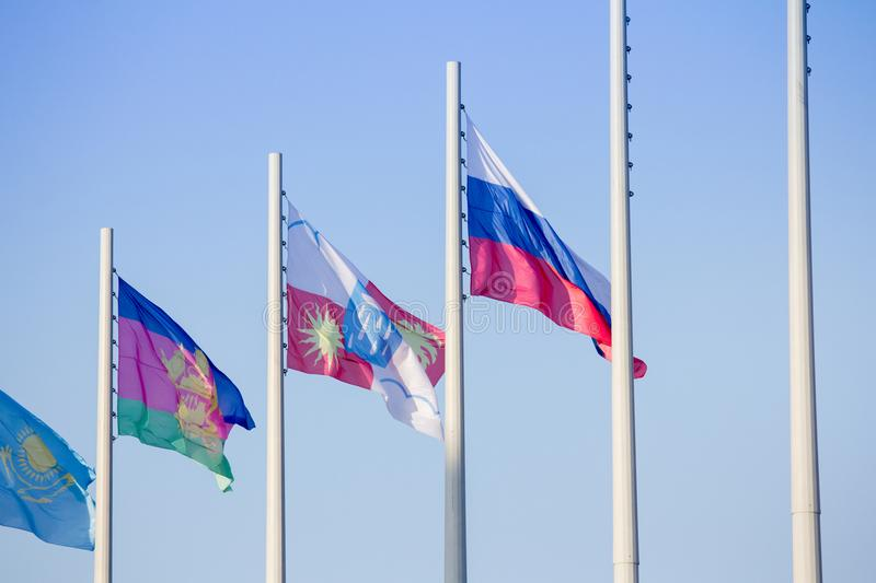 Flags of different countries in the Olympic Park. In Sochi stock images