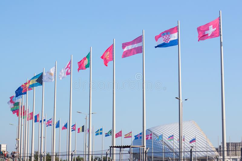 Flags of different countries in the Olympic Park. In Sochi stock photo