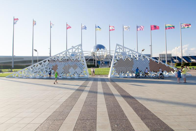 Flags of different countries in the Olympic Park. In Sochi royalty free stock photography