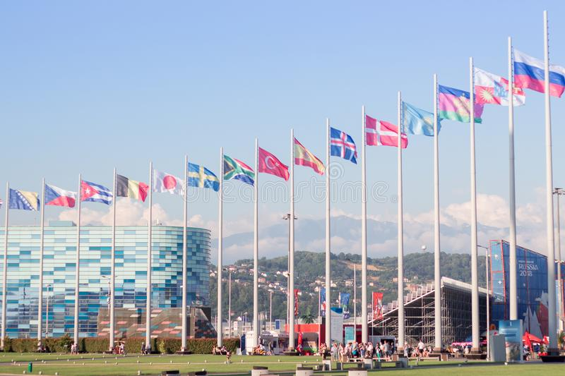 Flags of different countries in the Olympic Park. In Sochi stock image